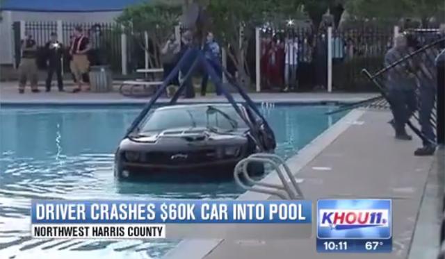 Texan Driver Crashes Chevrolet Camaro ZL1 Into Swimming Pool!