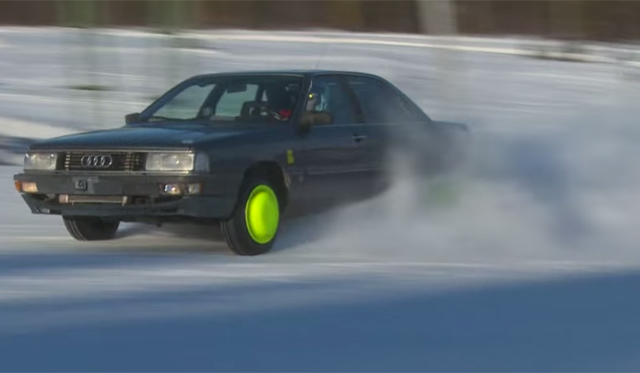 Video: Audi 200 Turbo Drifts Uphill in the Snow!