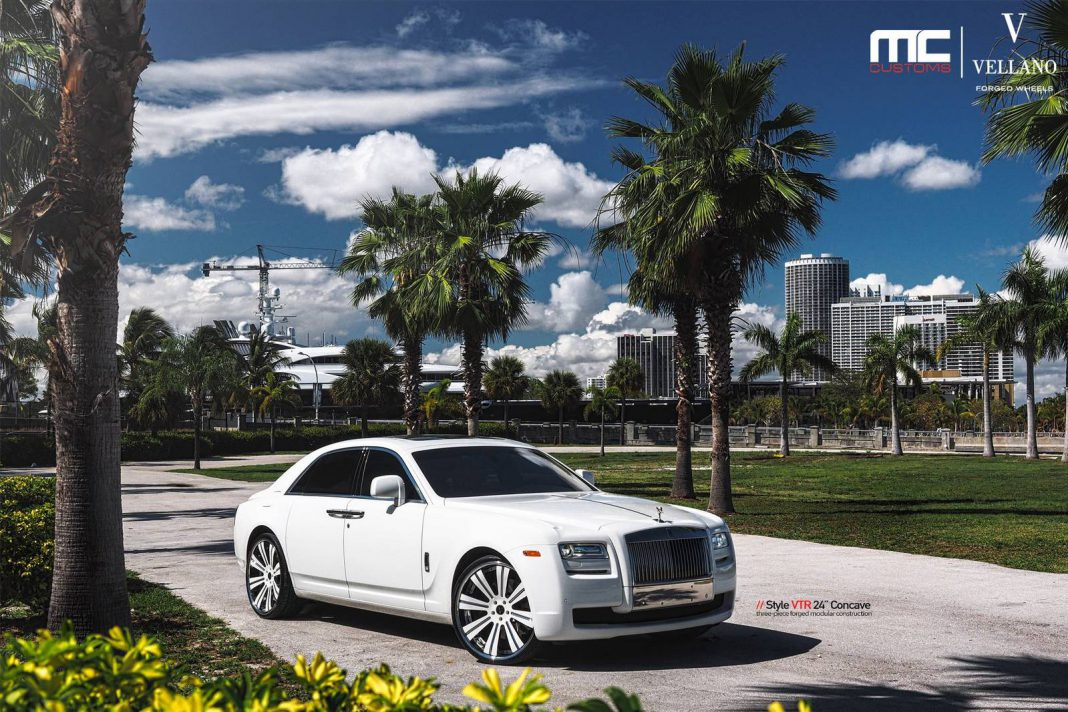 White Rolls-Royce Ghost on 24-Inch Vellano Wheels
