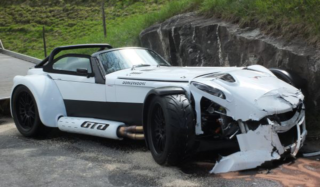 White Donkervoort D8 GTO Crashes in Switzerland