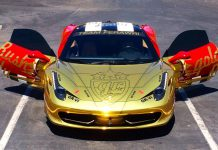 Gold Chrome Ferrari 458 Italia for GoldRush Rally VI
