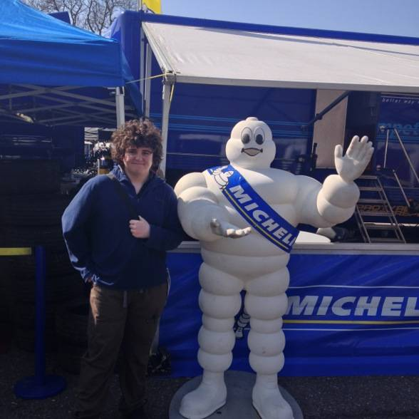 Jacob Sarsan with Bibendum at Brands Hatch