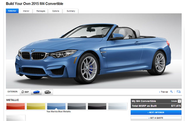 BMW M4 Convertible and Gran Coupe Configurators Launched