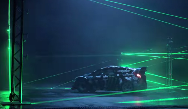 Video: Ken Block Drifts at Night With Lasers!