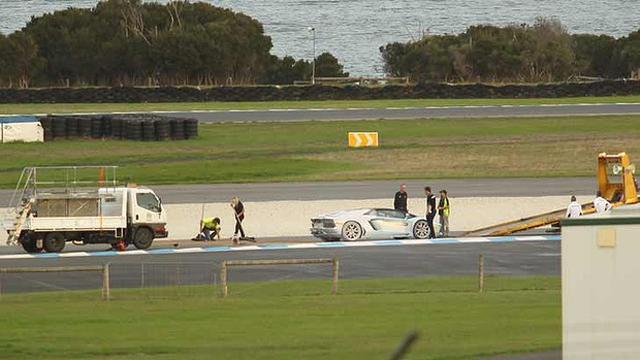 Lamborghini Aventador Roadster Catches Fire at Phillip Island