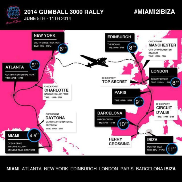 Gumball 3000 2014 Route