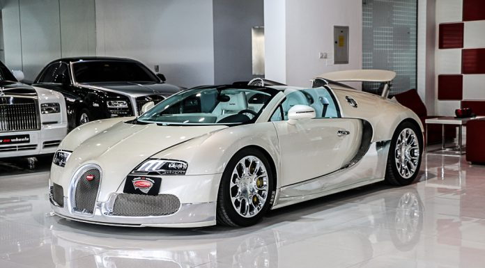 Stunning White and Chrome 2013 Bugatti Veyron Grand Sport For Sale