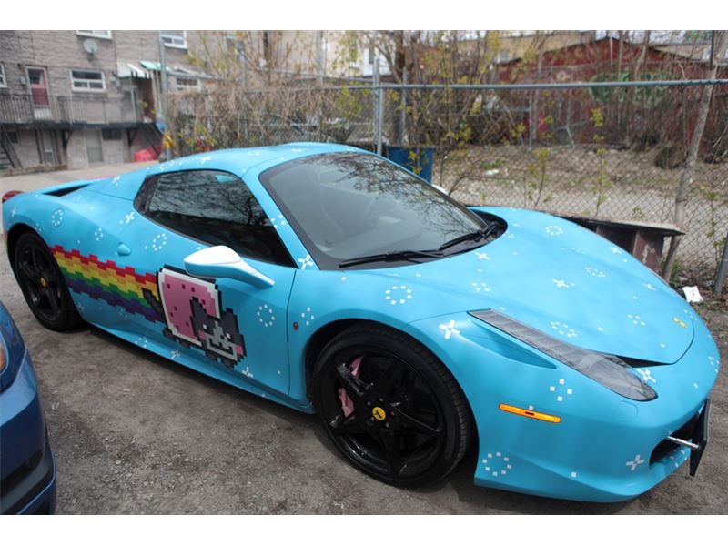 deadmau5 39 s nyan cat ferrari 458 spider for sale gtspirit. Black Bedroom Furniture Sets. Home Design Ideas