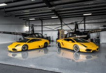 Yellow Lamborghini Murcielago and Gallardo Pose With Helicopters