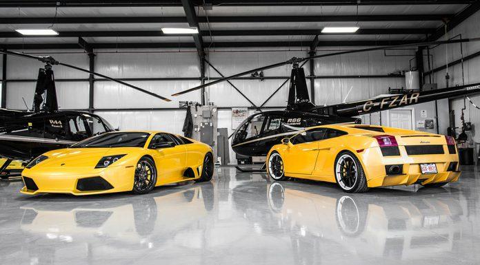 Yellow Lamborghini Murcielago and Gallardo Pose With Helicopters