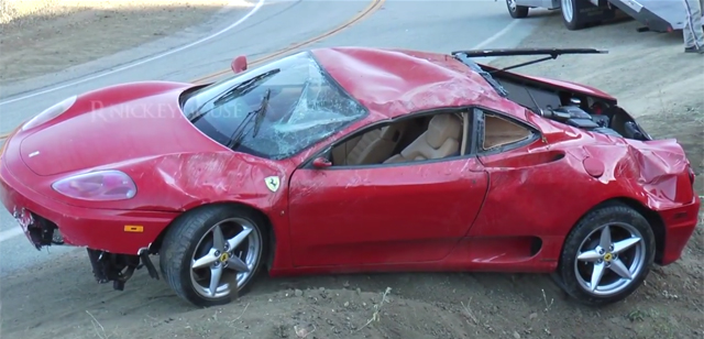 Video: Ferrari 360 Modena Crashes and Rolls on Mulholland Drive