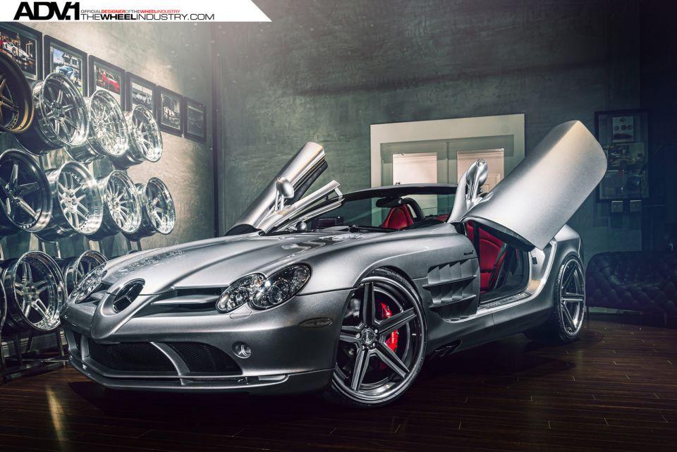 Silver Mercedes Benz Slr Mclaren Roadster With Adv 1 Wheels Gtspirit