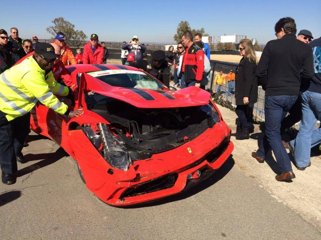 Ferrari 458 Speciale Crashes Heavily at South African Track Day