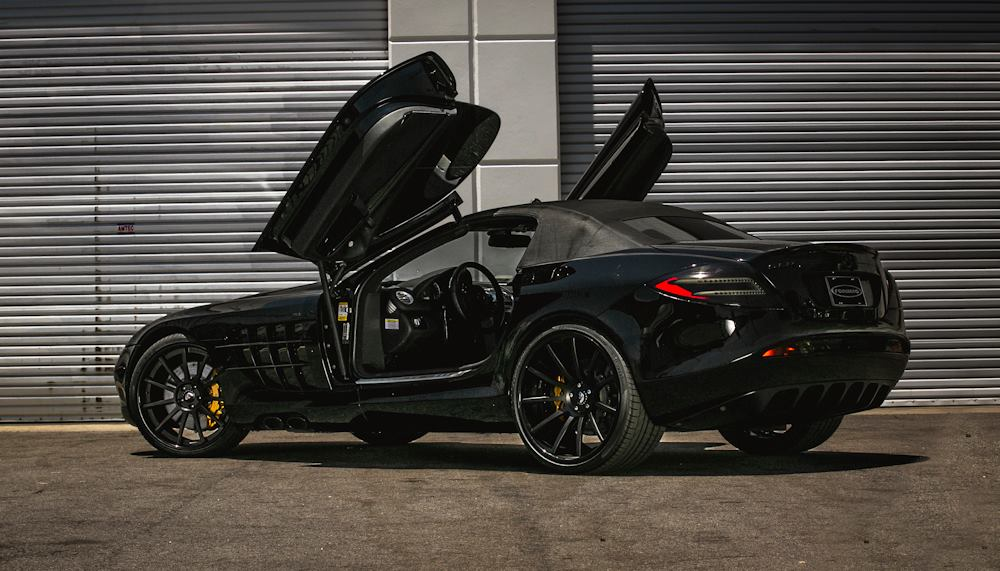 black mercedesbenz slr mclaren roadster with forgiato