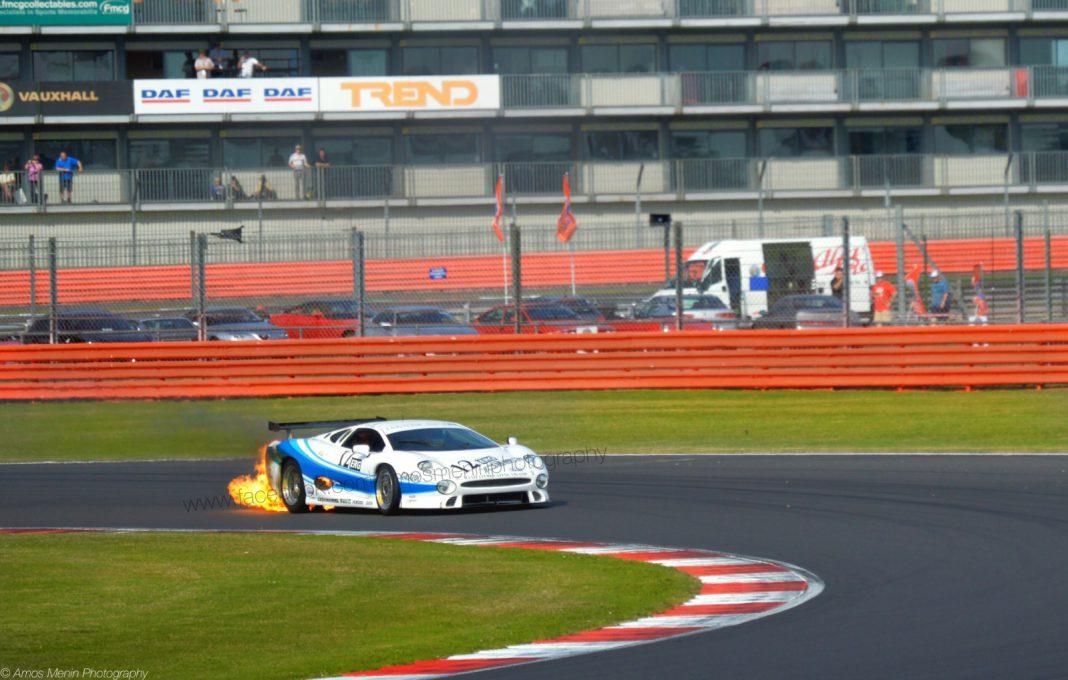 Jaguar XJ220 Catches Fire at Silverstone Circuit