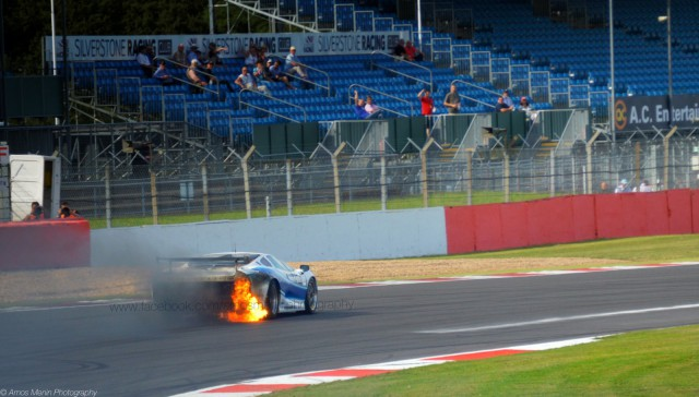 Jaguar XJ220 Catches Fire at Silverstone Circuit