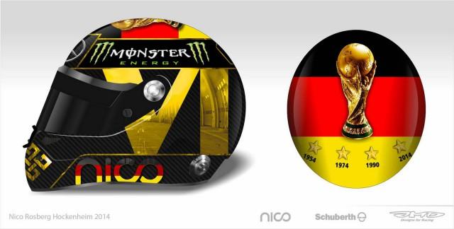 Nico Rosberg Gets a World Cup Special Edition Helmet for Hockeinheim GP