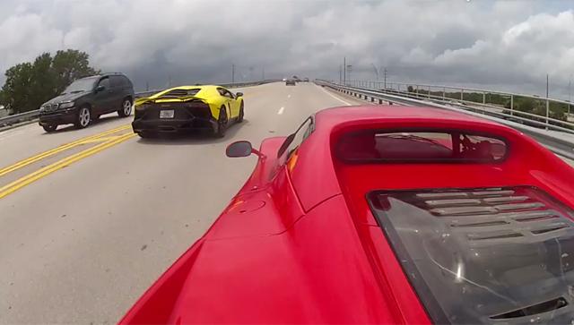 Video: Ferrari F50 and Lamborghini Aventador LP720-4 Cruising