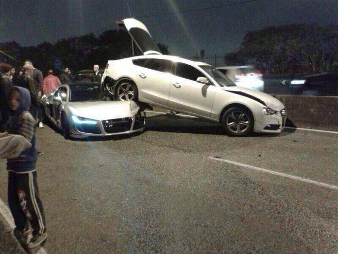 Audi A5 crashes into Audi R8