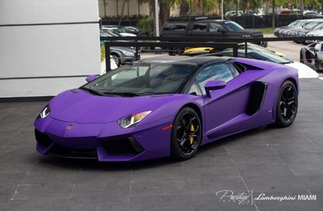 Unique Matte Purple Lamborghini Aventador Roadster For