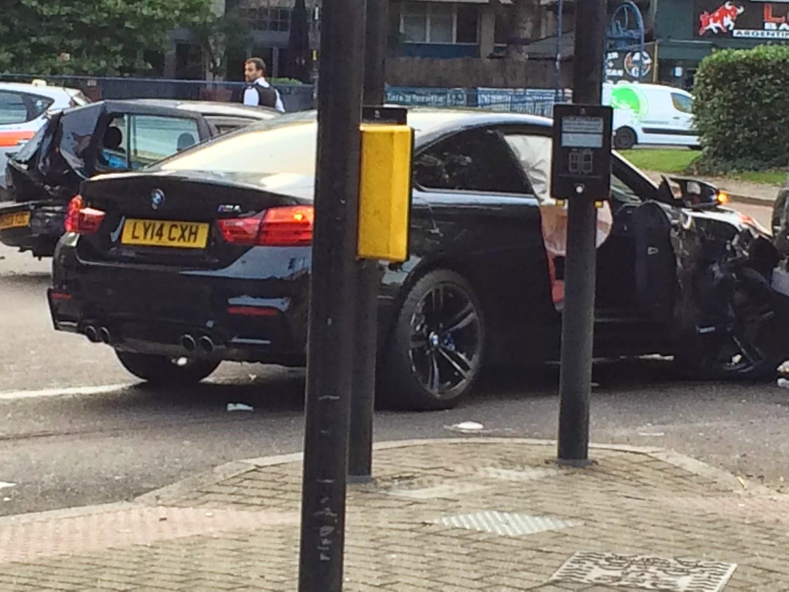 Black BMW M4 Coupe Crashes in London - GTspirit