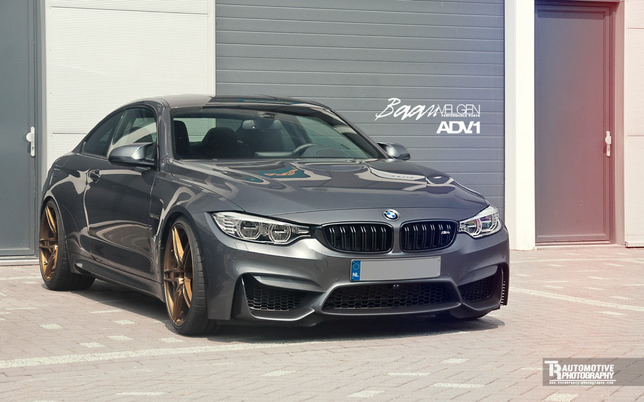 Bmw M4 On Golden Adv 1 Wheels Car Pictures