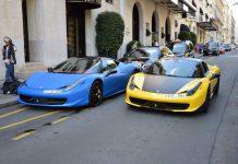 Matt Blue and Yellow Ferrari 458 Italia Duo in Paris