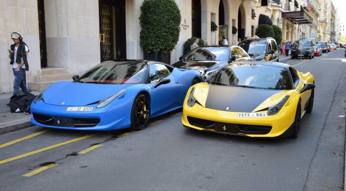Matt Blue and Yellow Ferrari 458 Italia Duo in Paris