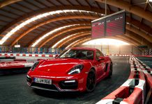 Stunning Red Porsche Cayman GTS on a Go-Kart Track
