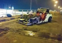 Ferrari California Destroyed After Rear-Ending Bus
