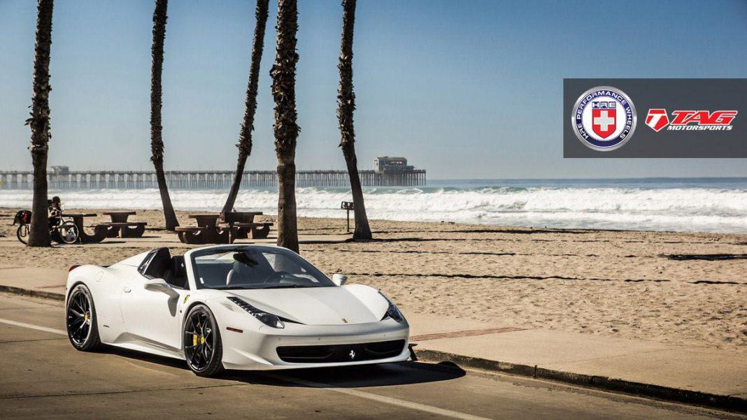 Stunning White Ferrari 458 Spider with Satin Black HRE Wheels