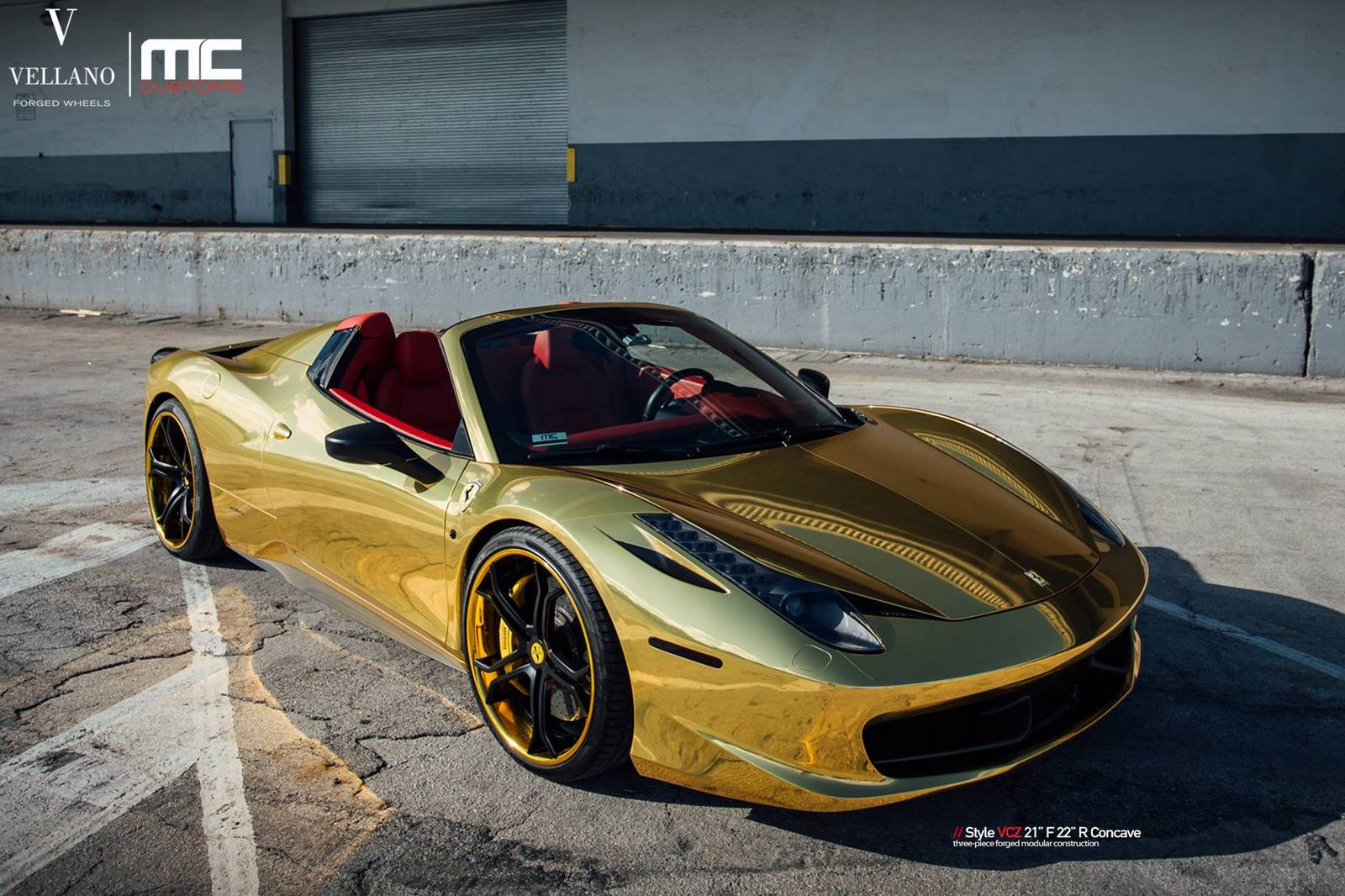 gold ferrari 458 spider with vellano forged wheels gtspirit. Black Bedroom Furniture Sets. Home Design Ideas