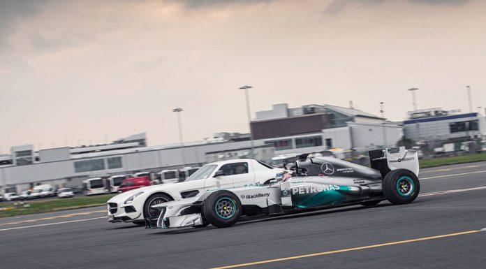 Mercedes AMG F1 Car Hits 192.6 mph at Edinburgh Airport