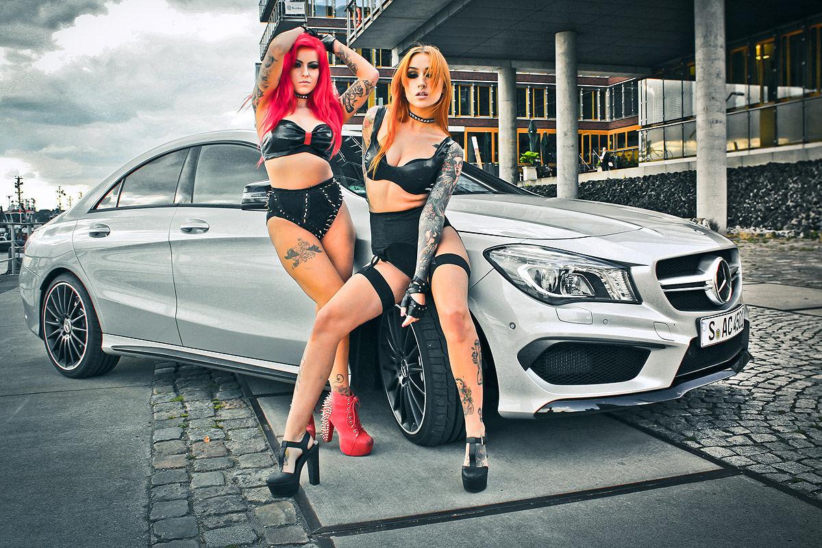 cars  girls posing   mercedes benz cla amg