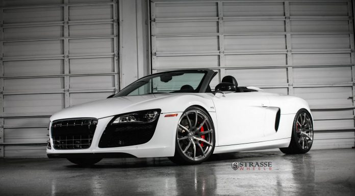 Ibis White Audi R8 V10 Spyder with Strasse Wheels