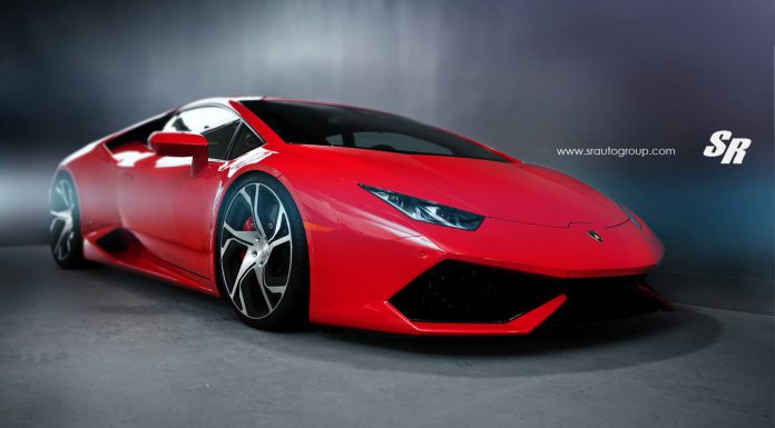 Red Lamborghini Huracan with Silver PUR Wheels