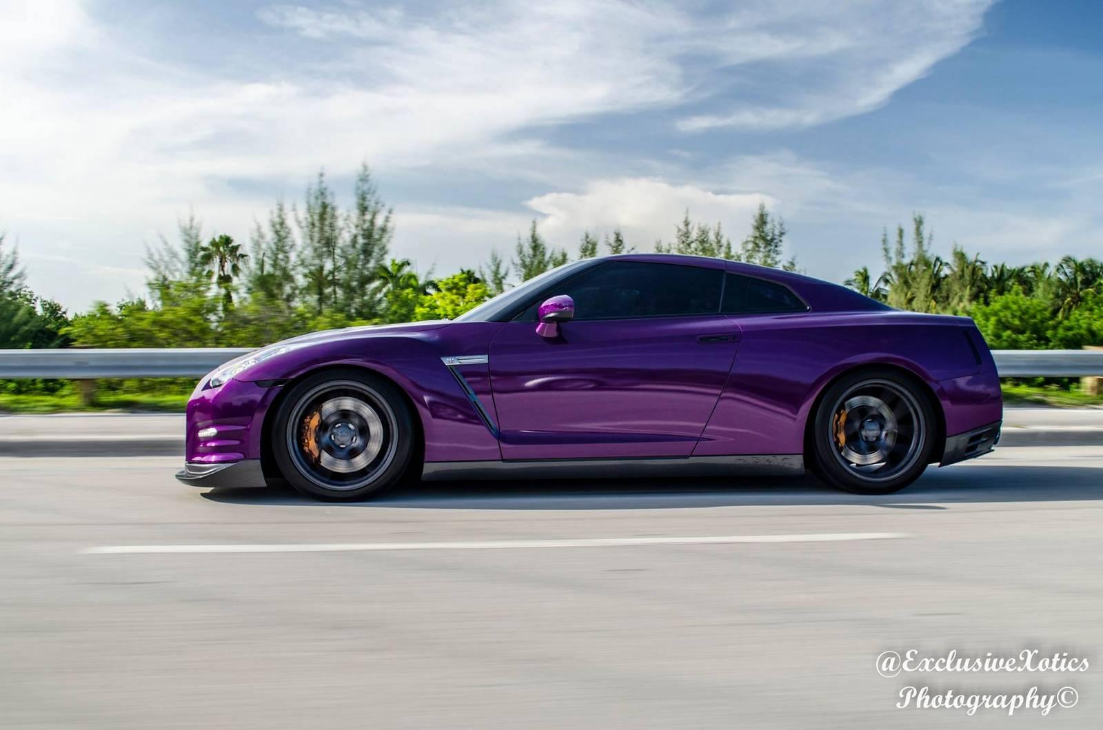 Dark Purple Car Black Rims
