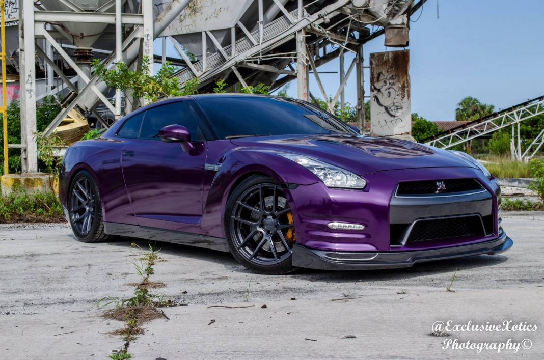 Purple Nissan GT-R Lowered on Velgen Wheels
