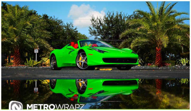 however florida based metrowrapz recently decided to create a lime green ferrari 458 spider and it is certainly the brightest - Ferrari 458 Spider Green
