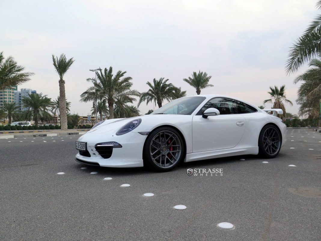 White Metallic Techart 911 Carrera GTS with Strasse Wheels
