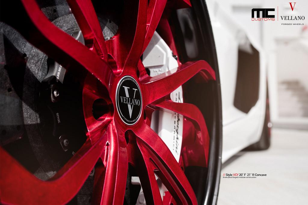 White Lamborghini Aventador With Red Vellano Wheels - GTspirit