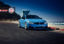 Yas Marina Blue BMW M4 with Brushed Ice HRE Wheels