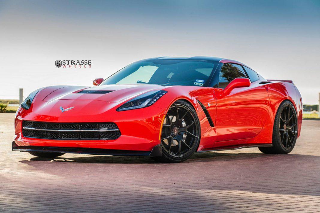 torch red corvette c7 stingray with sm5r strasse wheels gtspirit. Black Bedroom Furniture Sets. Home Design Ideas
