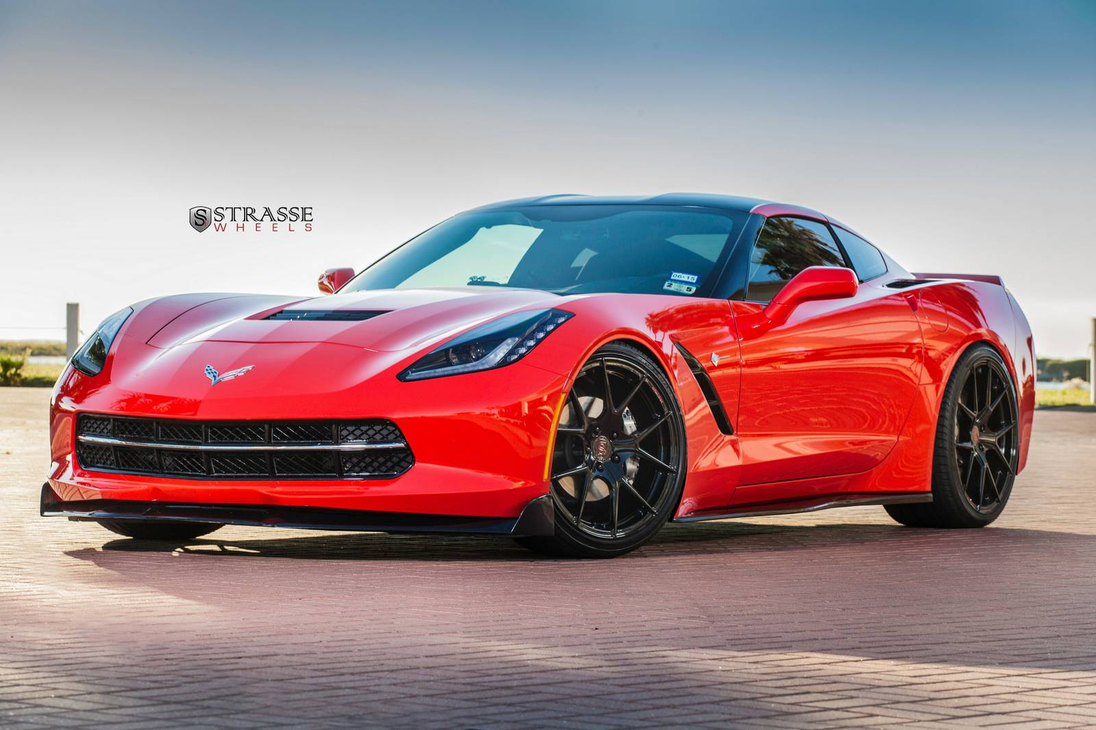 torch red corvette c7 stingray with sm5r strasse wheels gtspirit. Black Bedroom Furniture Sets. Home Design Ideas