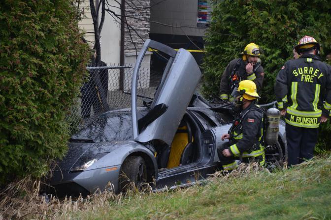 Lamborghini Murcielago Crashes on Canadian Highway