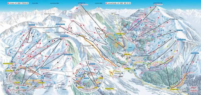 Pistenplan Arosa Lenzerheide Winter 2015