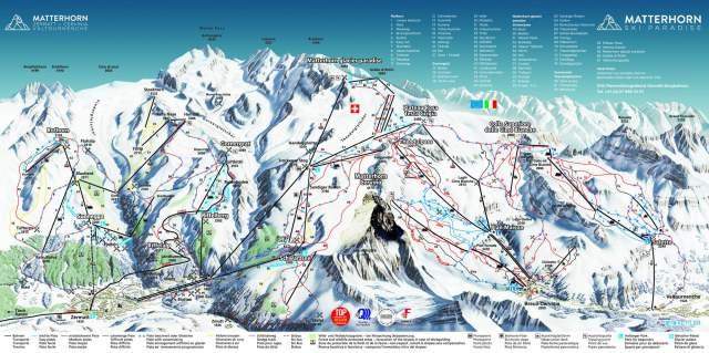 Zermatt Cervinia Piste Plan Map