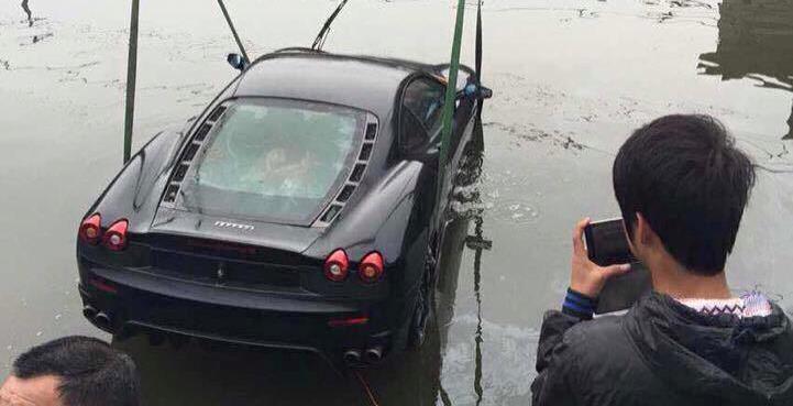 Ferrari F430 Crashes into a River in China