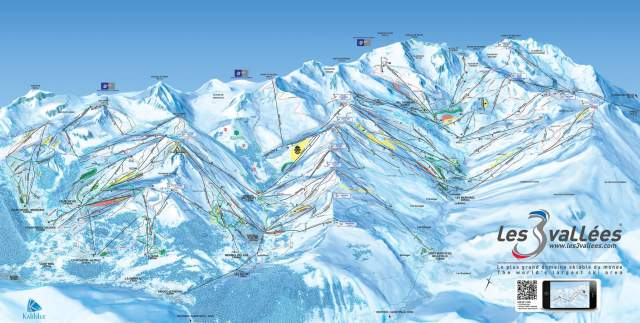 Les 3 Vallees Piste Plan Map