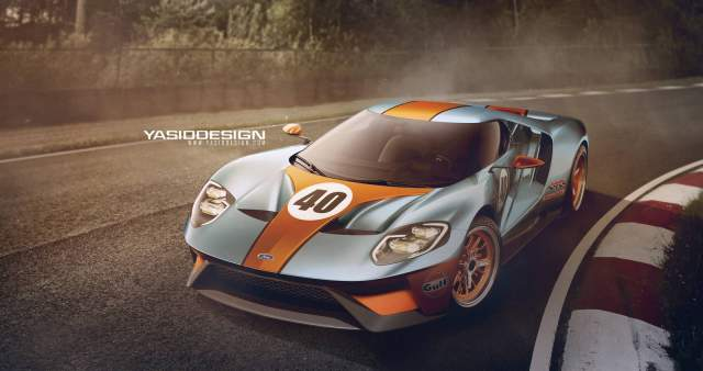 Yasid Oozeear has rendered an excellent 2016 Ford GT Gulf Edition, see it here including photos from Detroit Motor Show 2015!